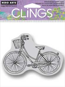 Bike With Basket Cling Rubber Stamp