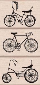 AI: 3 Bikes Wood Stamp Set