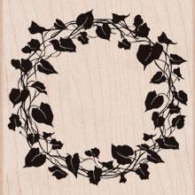 new ivy wreath wood stamp