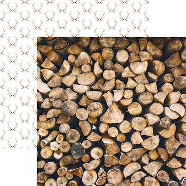 Scandinavian Woodland: Stacked Logs Paper