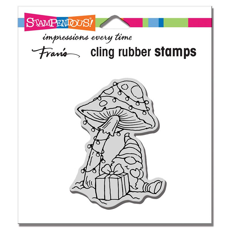Cling Mushroom Gnome Rubber Stamp