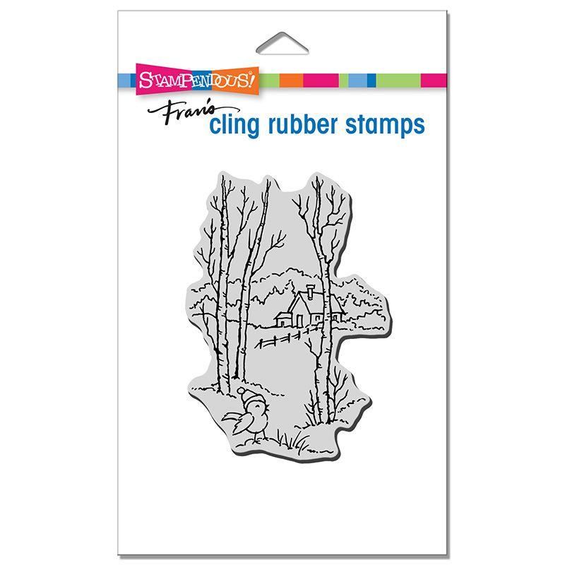Cling Birch Birdie Rubber Stamp