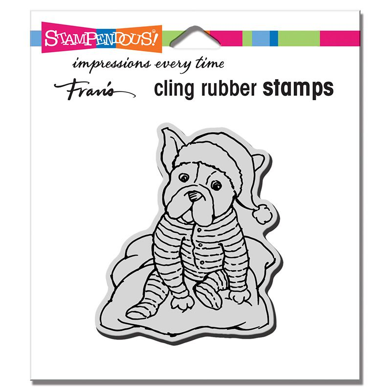 Cling Pajama Pup Rubber Stamp