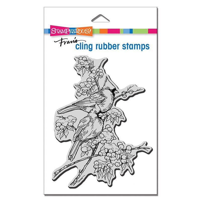 Cling Cardinal Pair Rubber Stamp