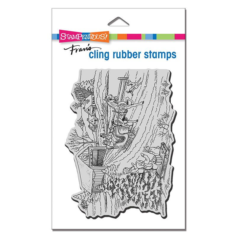 Cling One Horse Sleigh Rubber Stamp