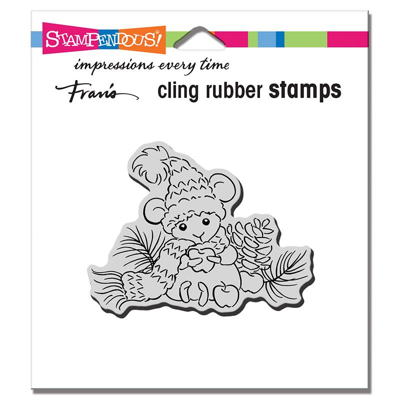 Cling Apple Mouse Rubber Stamp