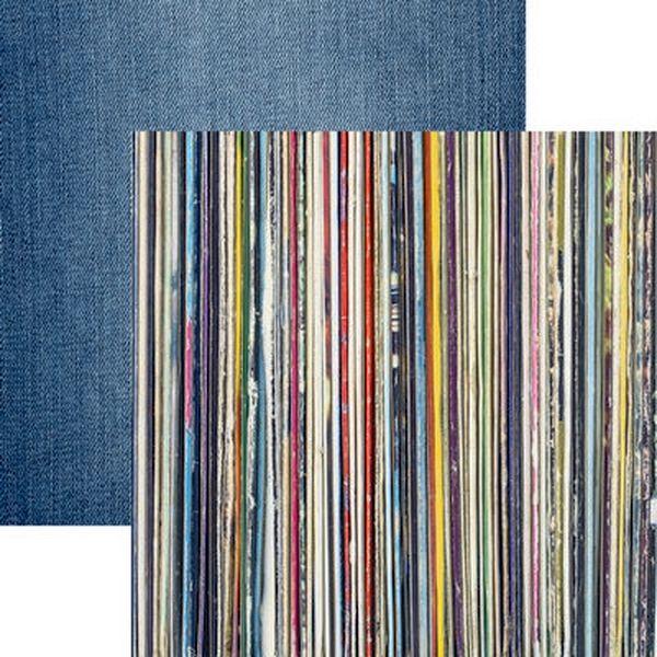 Good Vibes: Stack of Vinyl Records Scrapbook Paper